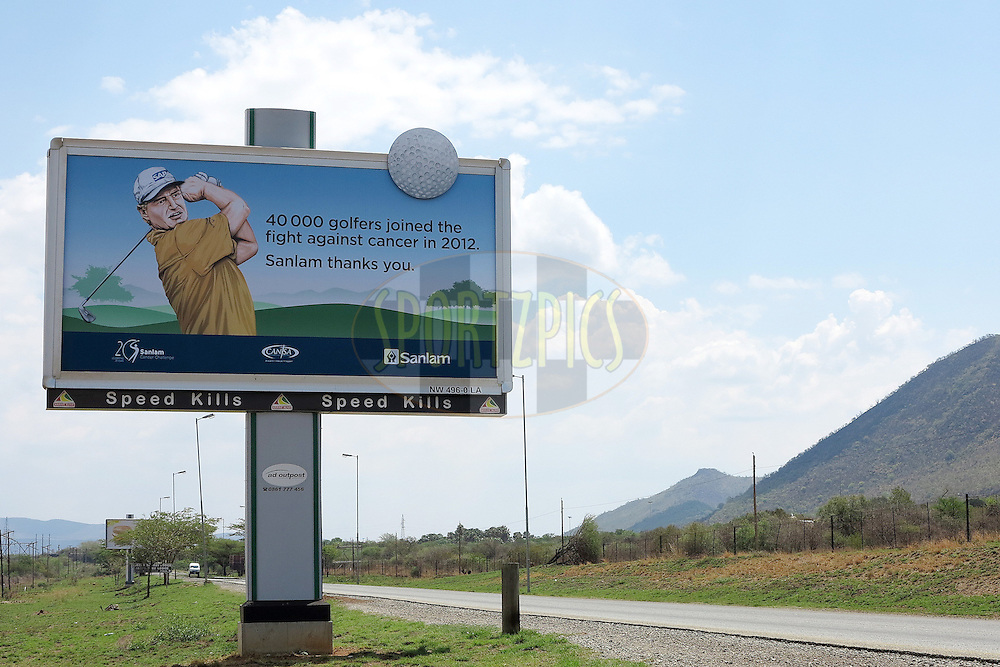 A view of the billboard promoting this years event near the entrance to Sun City, stating that 40,000 golfers took part in the overall competition during the player registration for the finals of the Sanlam Cancer Challenge 2012 held at Sun City on the 21st October 2012...Photo by Ron Gaunt/SPORTZPICS