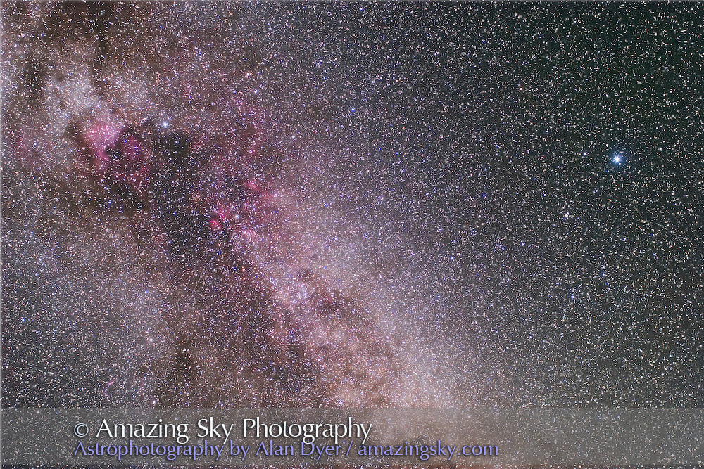Cygnus and Lyra, with 35mm Canon L-series lens and Canon 20Da at ISO 800 and f/2.8 for 6 minutes (stack of 3). Taken from Sask Summer Star Party, August 11, 2007.