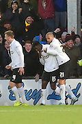 Bradford City midfielder, on loan from Wolverhampton Wanderers, Lee Evans  and Jordan Bowery of Bradford City celebrate Bradford City defender Greg Leigh scoring to go 2-0 up  during the Sky Bet League 1 match between Scunthorpe United and Bradford City at Glanford Park, Scunthorpe, England on 21 November 2015. Photo by Ian Lyall.
