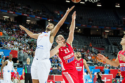 Yannick Franke of Netherlands vs Luka Zoric of Croatia during basketball match between Netherlands and Croatia at Day 5 in Group C of FIBA Europe Eurobasket 2015, on September 9, 2015, in Arena Zagreb, Croatia. Photo by Vid Ponikvar / Sportida