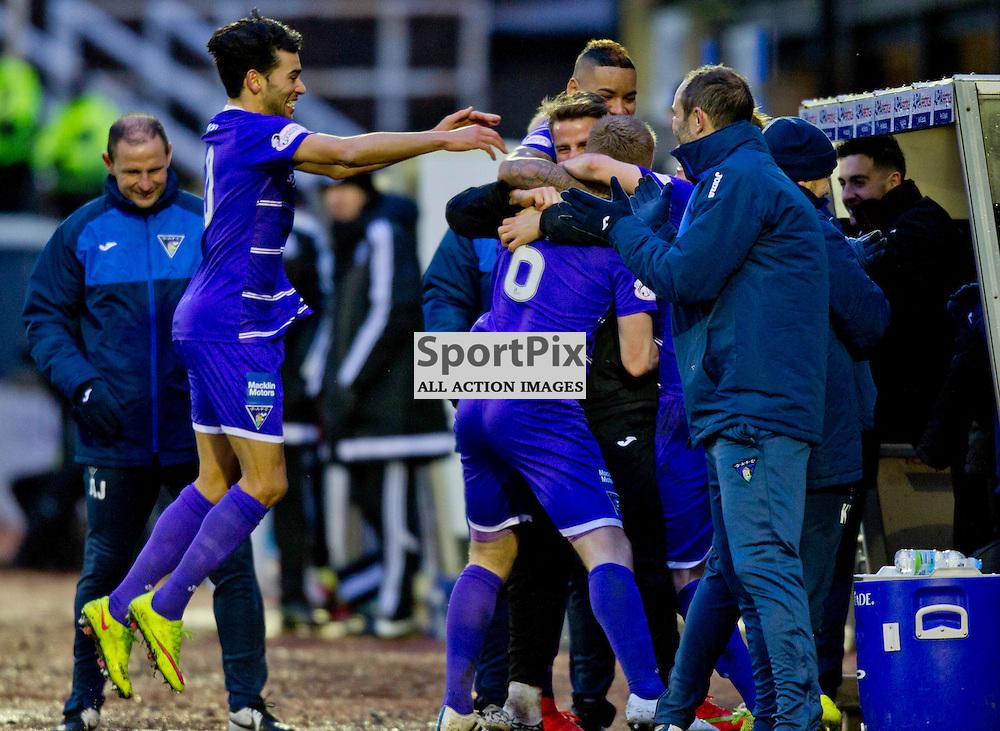 Ayr United v Dunfermline Athletic Scottish Cup Somerset Park 28 November 2015<br /> Andy Geggan celebrates his goal<br /> CRAIG BROWN | sportPix.org.uk