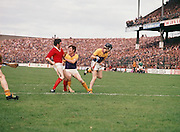Wexford and Cork players get into a scuffle in the goalmouth during the All Ireland Senior Hurling Final, Cork v Wexford in Croke Park on the 4th September 1977. Cork 1-17 Wexford 3-8.