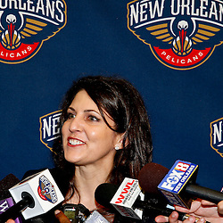 Aug 1, 2013; Metairie, LA, USA; New Orleans Pelicans executive Rita Benson-LaBlanc during a uniform unveiling at the team practice facility. Mandatory Credit: Derick E. Hingle-USA TODAY Sports
