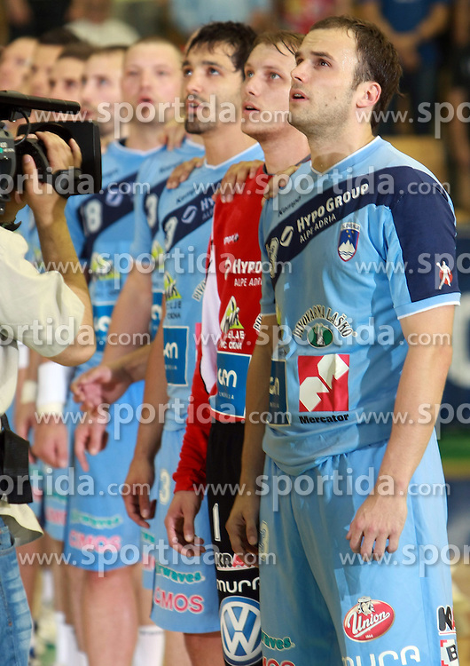 Team Slovenia (Uros Zorman) before  handball game between men national teams of Slovenia and Slovakia, first qualification game for the World Chamionship 2009, on June 7, 2008, in Arena Zlatorog, Celje, Slovenija. Result: 33 : 33. (Photo by Vid Ponikvar / Sportal Images)