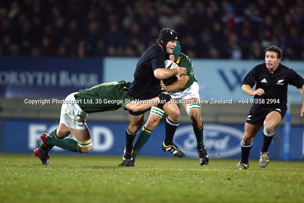 9 August 2003, International Rugby Union, Phillips Tri-Nations, All Blacks v South Africa, Carisbrook, Dunedin, New Zealand.<br />Marty Holah. All Blacks won 19-11<br />Pic: Sandra Teddy/Photosport