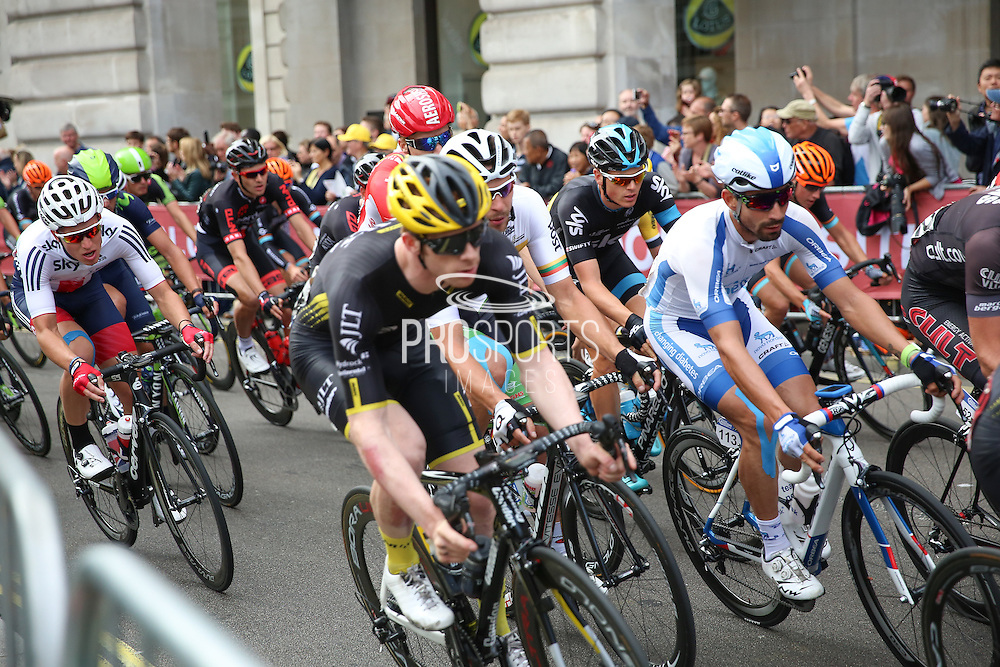 Riders during the Aviva Tour of Britain London Stage eight, Regent Street, London, United Kingdom on 13 September 2015. Photo by Phil Duncan.