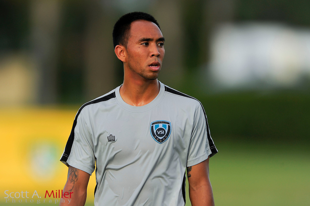VSI Tampa Bay FC midfielder Shawn Chin (20) before the game against Antigua Barracuda in a USL Pro soccer match at Plant City stadium in Plant City, Florida on June 7, 2013. VSI won 8-0.<br /> <br /> &copy;2013 Scott A. Miller