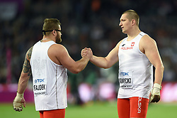 Paweł Fajdek and Wojciech Nowicki of Poland celebrate winning gold and bronze - Mandatory byline: Patrick Khachfe/JMP - 07966 386802 - 11/08/2017 - ATHLETICS - London Stadium - London, England - Men's Hammer Throw Final - IAAF World Championships