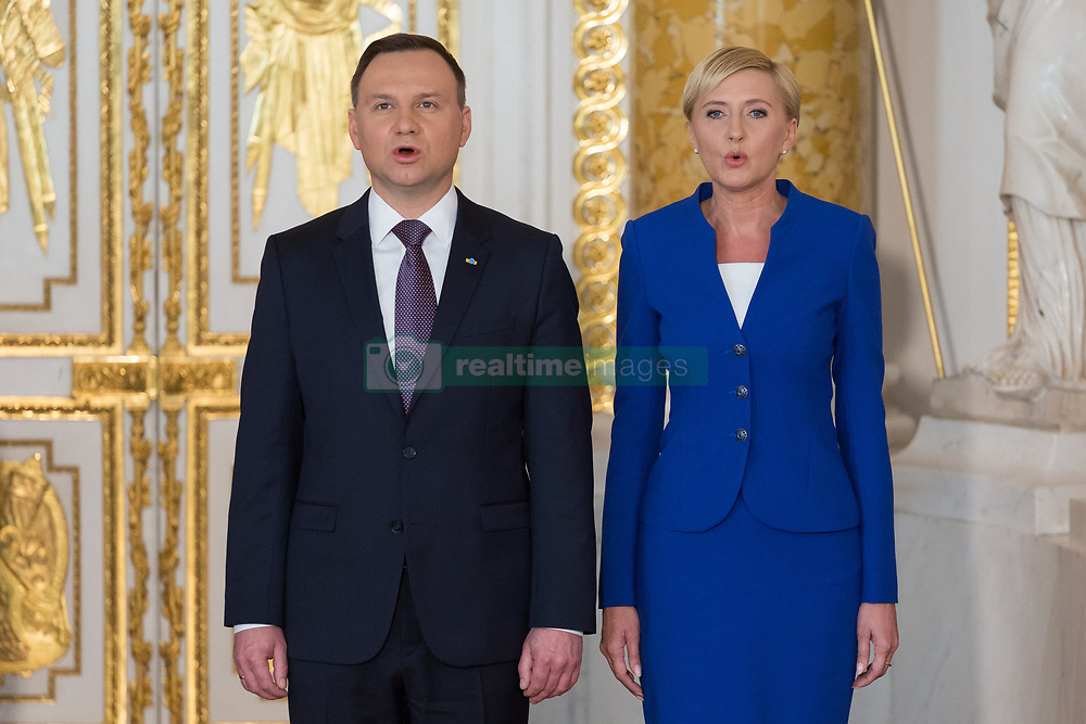 May 3, 2017 - Warsaw, Poland - President of Poland Andrzej Duda and Polish First Lady Agata Kornhauser-Duda during the 'Order of the White Eagle' award ceremony on 226th anniversary of the passage of Poland's 03 May 1791 national constitution, at the Royal Castle in Warsaw, Poland on 3 May 2017  (Credit Image: © Mateusz Wlodarczyk/NurPhoto via ZUMA Press)