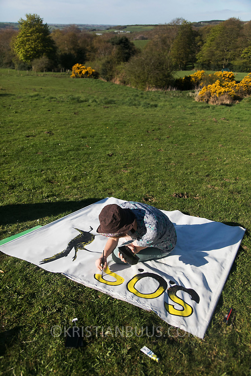 Banner and placard making in the protector camp ahead of the the day of protest against the mining company Banks outside Dipton in Pont Valley, County Durham, 4 May 2018. Sunset in Pont Valley ahead of the the day of protest against the mining company Banks outside Dipton in Pont Valley, County Durham, 4 May 2018. Locals have fought the open cast coal mine for thirty years and three times the local council rejected planning permissions but central government has overruled that decision and the company Banks was granted the license and rights to extract coal in early 2018. Locals have teamed up with climate campaigners and together they try to prevent the mining from going ahead. The mining will have huge implications on the local environment and further coal extraction runs agains the Paris climate agreement. A rare species of crested newt live on the land planned for mining and protectors are trying to stop the mine to save the newt.