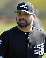 GLENDALE, ARIZONA - FEBRUARY 20:  Hector Santiago #21 of the Chicago White Sox looks on during a spring training workout February 20, 2018 at Camelback Ranch in Glendale Arizona.  (Photo by Ron Vesely)  Subject:   Hector Santiago