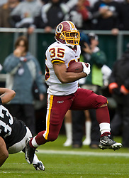 December 13, 2009; Oakland, CA, USA;  Washington Redskins running back Quinton Ganther (35) during the second quarter against the Oakland Raiders at Oakland-Alameda County Coliseum.  Washington defeated Oakland 34-13.