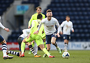Brighton central midfielder, Beram Kayal (7) fouls Preston North End Midfielder Paul Gallagher (12) during the Sky Bet Championship match between Preston North End and Brighton and Hove Albion at Deepdale, Preston, England on 5 March 2016.