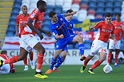 Jordan Williams challenges for the ball during the EFL Sky Bet League 1 match between Rochdale and Charlton Athletic at Spotland, Rochdale, England on 27 October 2018.