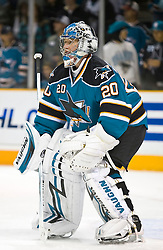 December 11, 2009; San Jose, CA, USA; San Jose Sharks goalie Evgeni Nabokov (20) before the game against the Dallas Stars at HP Pavilion. Dallas defeated San Jose 3-2 in the 11th round of a shootout. Mandatory Credit: Jason O. Watson / US PRESSWIRE