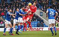 Crawley's Mark Connolly and Josh Yorwerth attack the Chesterfield goal during the Sky Bet League 2 match between Chesterfield and Crawley Town at the Proact Stadium in Chesterfield. 03 Feb 2018