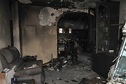 On May 23 2019, a forest fire devastated the village of Mevo Modiim, Israel. Interior of a burnt home