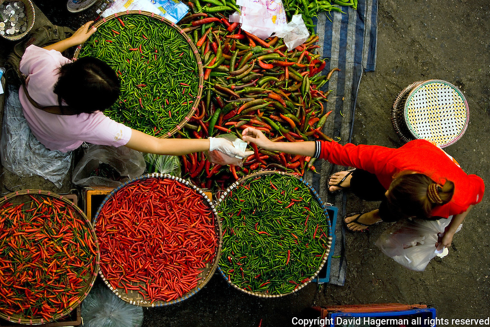 A chili vendor in Chiang Mai,Thailand's Myung Mai market. Myung Mai is Chiang Mai's largest wholesale and retail food market.