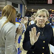 North Carolina Head Coach Sylvia Hatchell (right) and her players high five Delaware players after a 2013 Round Two Women's NCAA tournament game between No. 3 North Carolina and No. 6 Delaware Tuesday, March 26, 2013, at the Bob Carpenter Center in Newark Delaware...No. 6 Delaware defeats No. 3 North Carolina 78-69 to advance to the sweet 16 for the first time in school history.<br />