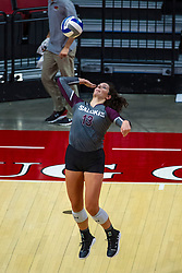 BLOOMINGTON, IL - September 28: Rachel Maguire during a college Women's volleyball match between the ISU Redbirds and the Southern Illinois Salukis on September 28 2019 at Illinois State University in Normal, IL. (Photo by Alan Look)