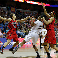 April 7, 2013; New Orleans, LA, USA; Louisville Cardinals guard Jude Schimmel (22) and California Golden Bears forward Reshanda Gray (21) fight for the ball during the first half in the semifinals during the 2013 NCAA womens Final Four at the New Orleans Arena. Mandatory Credit: Derick E. Hingle-USA TODAY Sports