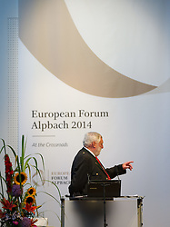 "17.08.2014, Kongress, Alpbach, AUT, Forum Alpbach, Tiroltag, im Bild Forum-Alpbach-Präsident Franz Fischler bei der Podiumsdiskussion ""Fortschritt oder Stillstand in der Europaregion Tirol"" // during the tyrol Day of European Forum Alpbach at the Congress in Alpach, Austria on 2014/08/17. EXPA Pictures © 2014, PhotoCredit: EXPA/ Johann Groder"