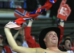Norwegian Fans at ice-hockey match Germany vs Norway (they have old replika jerseys from year 1966) at Preliminary Round (group C) of IIHF WC 2008 in Halifax, on May 07, 2008 in Metro Center, Halifax,Nova Scotia, Canada. (Photo by Vid Ponikvar / Sportal Images)