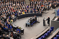 12 FEB 2017, BERLIN/GERMANY:<br /> Frank-Walter Steinmeier (R), neu gew&auml;hlter Bundespraesident, haelt eine Rede, 16. Bundesversammlung zur Wahl des Bundespraesidenten, Reichstagsgebaeude, Deutscher Bundestag<br /> IMAGE: 20170212-02-142<br /> KEYWORDS; Bundespraesidentenwahl, Bundespr&auml;sidetenwahl, Antrittsrede