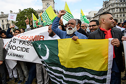 © Licensed to London News Pictures. 03/09/2019. London, UK.  Pro Pakistani demonstrators rally in Parliament Square over the continuing crisis in Kashmir. Photo credit: Guilhem Baker/LNP.