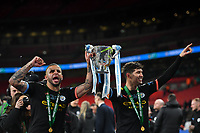Football - 2020 EFL Carabao (League) Cup Final - Aston Villa vs. Manchester City<br /> <br /> Manchester City's Kyle Walker and John Stones celebrate after their 2-1 victory, at Wembley Stadium.<br /> <br /> COLORSPORT/ASHLEY WESTERN