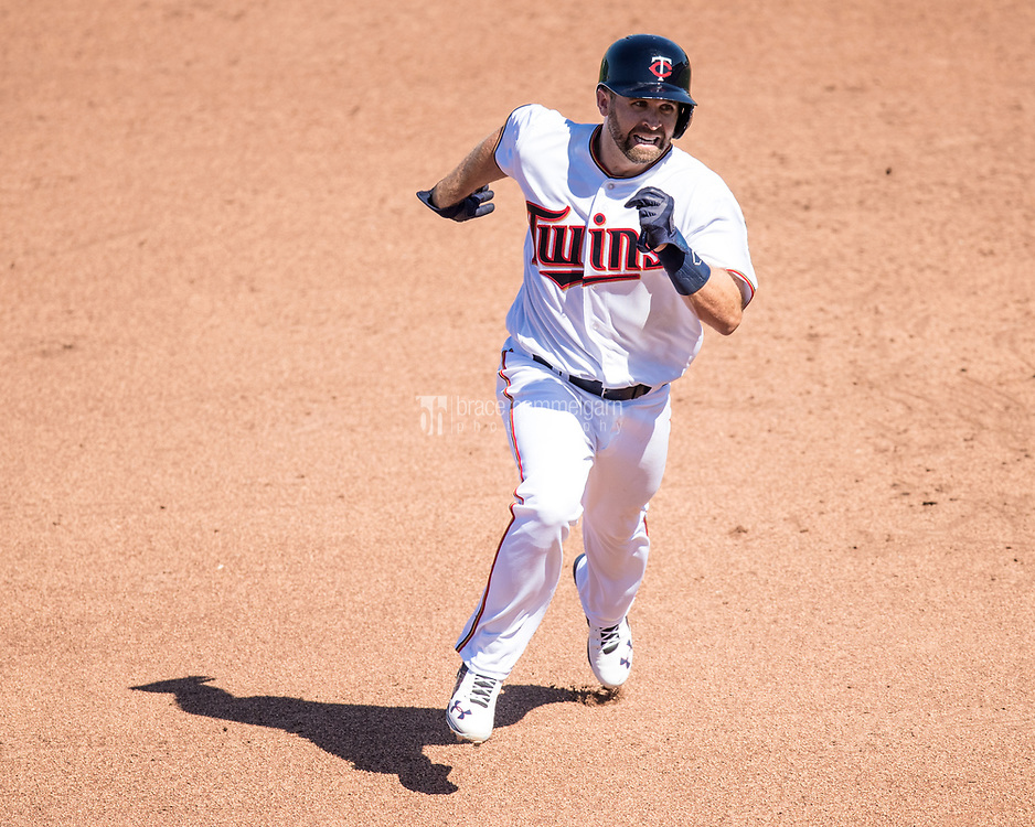 FORT MYERS, FL- FEBRUARY 26: Brian Dozier #2 of the Minnesota Twins runs against the Washington Nationals on February 26, 2017 at Hammond Stadium in Fort Myers, Florida. (Photo by Brace Hemmelgarn) *** Local Caption *** Brian Dozier
