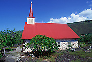 Lava rock wall church, Island of Hawaii<br />