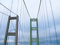 Looking up at bridge towers of the westbound (older) Tacoma Narrows Bridge, Tacoma, Washington, USA
