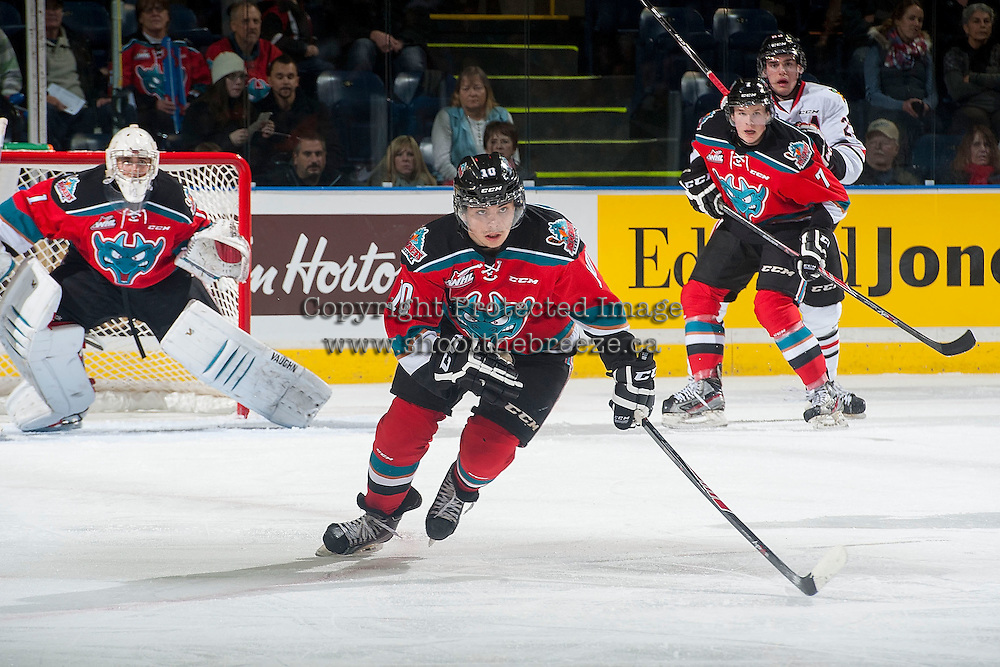 KELOWNA, CANADA - NOVEMBER 21: Nick Merkley #10 of Kelowna Rockets skates against the Portland Winterhawks on November 21, 2014 at Prospera Place in Kelowna, British Columbia, Canada.  (Photo by Marissa Baecker/Shoot the Breeze)  *** Local Caption *** Nick Merkley;