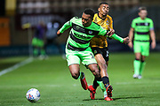 Forest Green Rovers Tahvon Campbell(14) on the ball during the EFL Sky Bet League 2 match between Cambridge United and Forest Green Rovers at the Cambs Glass Stadium, Cambridge, England on 2 October 2018.