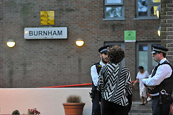 © Licensed to London News Pictures. 23/06/2017. London, UK. Burnham block, one of five blocks being evacuated.  Residents in the Chalcots Estate in Camden have received notification to vacate their properties immediately by Camden council as a safety precaution.  The cladding on the tower blocks in the estate have been confirmed to be flammable and requires immediate removal. Photo credit : Stephen Chung/LNP