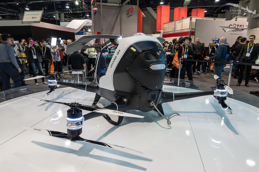 The EHANG 184 is a personal transportation octocopter (media are calling it a drone). Who's first to get into one of these things? CES 2016, Las Vegas.