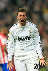 MADRID, SPAIN - Sunday, March 28, 2010: Real Madrid Club de Futbol's Gonzalo Higuain celebrates scoring a goal against Club Atletico de Madrid during the La Liga Primera Division Madrid Derby match at the Estadio Santiago Bernabeu. (Pic by Hoch Zwei/Sprimont Press/Propaganda)