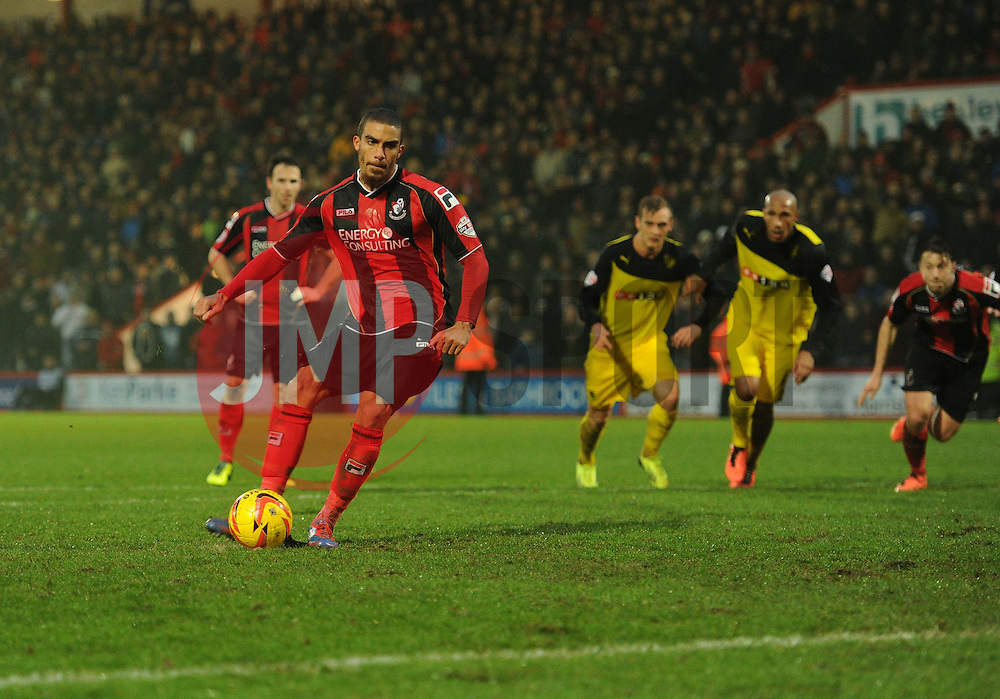 Bournemouth's Lewis Grabban fails to score his second penalty. - Photo mandatory by-line: Alex James/JMP - Tel: Mobile: 07966 386802 18/01/2014 - SPORT - FOOTBALL - Goldsands Stadium - Bournemouth - Bournemouth v Watford - Sky Bet Championship
