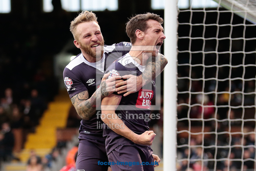 Craig Bryson (R) and Johnny Russell of Derby County celebrating together after Craig Bryson scored against Fulham during the Sky Bet Championship match at Craven Cottage, London<br /> Picture by Daniel Leal-Olivas/Focus Images Ltd +44 740 229 0764<br /> 06/02/2016