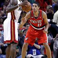 08 March 2011: Portland Trail Blazers small forward Nicolas Batum (88) defends on Miami Heat small forward LeBron James (6) during the Portland Trail Blazers 105-96 victory over the Miami Heat at the AmericanAirlines Arena, Miami, Florida, USA.