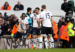 Danny Rose of Tottenham Hotspur celebrates with his teammates after scoring the winning goal against Swansea City - Mandatory byline: Robbie Stephenson/JMP - 28/02/2016 - FOOTBALL - White Hart Lane - Tottenham, England - Tottenham Hotspur v Swansea City - Barclays Premier League