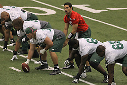 June 12, 2012; Florham Park, NJ, USA; New York Jets quarterback Mark Sanchez (6) during New York Jets Minicamp at the Atlantic Health Training Center.
