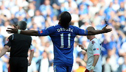 Wembley FA Cup final Chelsea v Portsmouth 15/05/2010.Didier Drogba (Chelsea)  looks to the heavens after final whistle.