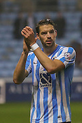 Coventry City defender Aaron Martin applauds the fans  during the Sky Bet League 1 match between Coventry City and Barnsley at the Ricoh Arena, Coventry, England on 3 November 2015. Photo by Simon Davies.
