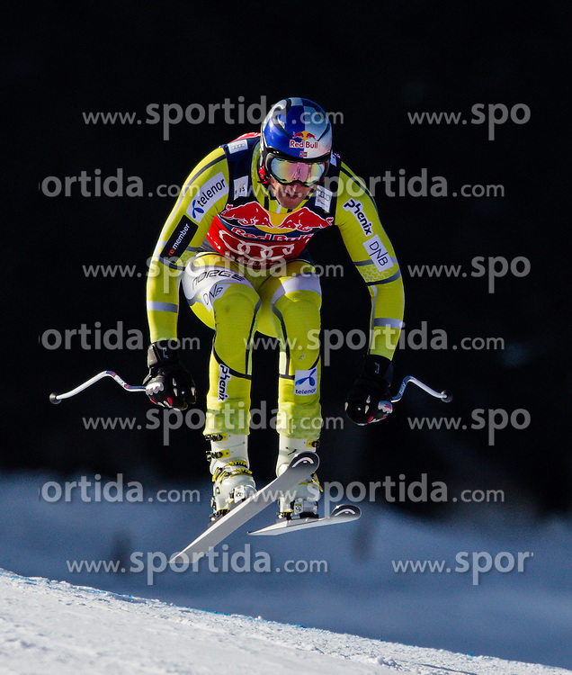 24.01.2013, Streif, Kitzbuehel, AUT, FIS Weltcup Ski Alpin, Abfahrt, Herren, 3. Training, im Bild Aksel Lund Svindal (NOR) // Aksel Lund Svindal of Norway  in action during 3th practice of mens Downhill of the FIS Ski Alpine World Cup at the Streif course, Kitzbuehel, Austria on 2013/01/24. EXPA Pictures © 2013, PhotoCredit: .EXPA/ Juergen Feichter