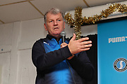 AFC Wimbledon first team coach Glyn Hodges making hand gesture during the EFL Sky Bet League 1 match between AFC Wimbledon and Rochdale at the Cherry Red Records Stadium, Kingston, England on 8 December 2018.