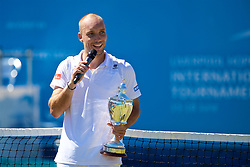 LIVERPOOL, ENGLAND - Sunday, June 18, 2017: Steve Darcis (BEL) with the trophy after winning the Men's Final on Day Four of the Liverpool Hope University International Tennis Tournament 2017 at the Liverpool Cricket Club. (Pic by David Rawcliffe/Propaganda)