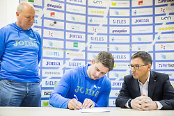 Lovro Umek, Nejc Plesko and Roman Dobnikar during press conference when Slovenian athletes and their coaches sign contracts with Athletic federation of Slovenia for year 2016, on February 25, 2016 in AZS, Ljubljana, Slovenia. Photo by Vid Ponikvar / Sportida