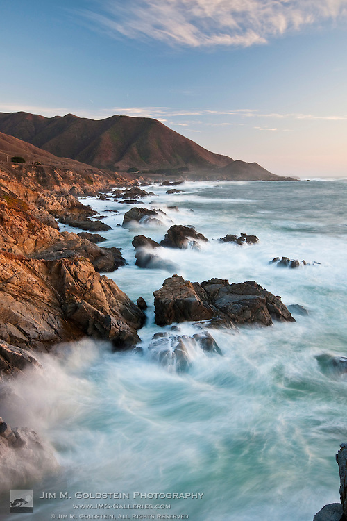 Large waves crash on the rocky coast of Big Sur, California